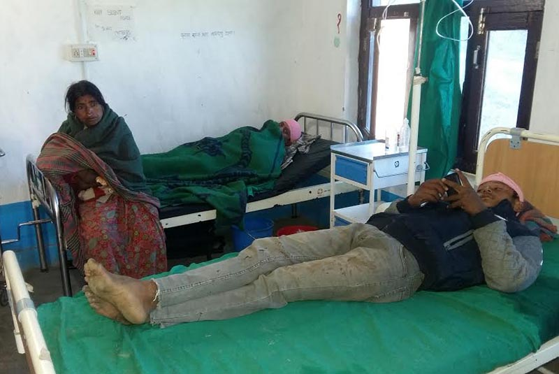A person injured in a clash at Manakot of Gaumul Rural Municipality undergoing treatment at Bajura District Hospital, on Thursday, December 21, 2017. Photo: THT