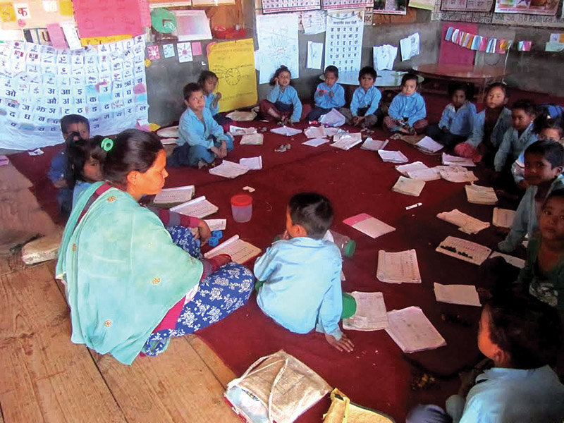 Children attending a class at Bawani Aadharbhut School in Jagannath, Bajura, on Friday. Photo: THT