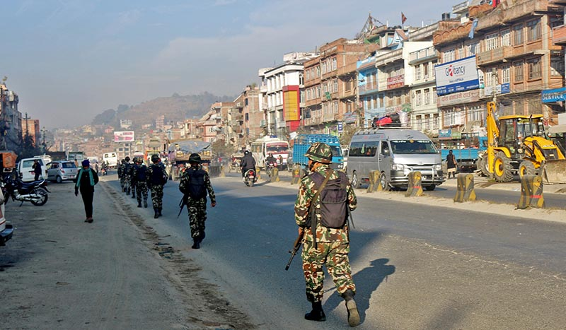 Nepal Army personnel are seen patrolling in Banepa of Kavrepalanchok district, in view of upcoming elections to the House of Representatives and State Assemblies slated for December 7, as pictured on Monday, December 4, 2017. Photo: RSS