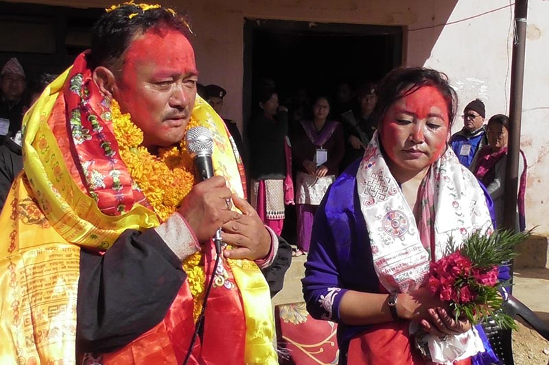 CPN-UMLu2019s Parliamentary seat winner Basanta Kumar Nembang speaking after the vote counting concluded in Panchthar district, Saturday, December 9, 2017. Photo: Laxmi Gautam