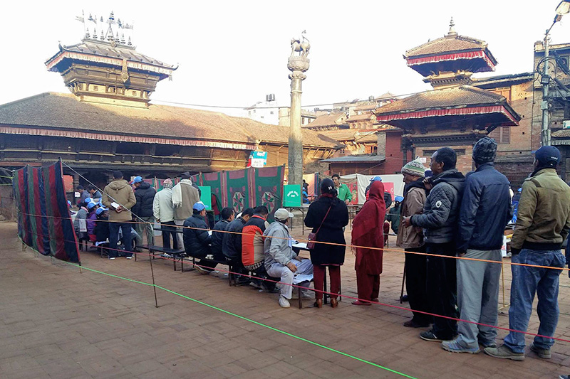 Voters stand in a queue to cast their ballot in Bhaktapur, on Thursday, December 7, 2017. Photo: Anita Shrestha