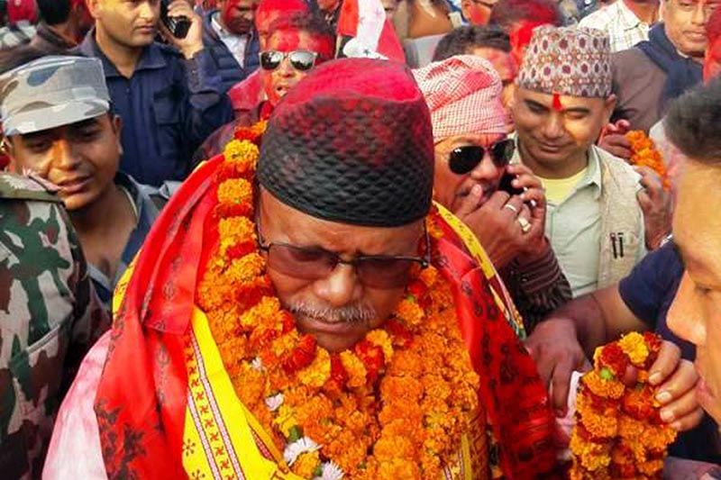 Nepali Congress leader Bijaya Kumar Gachhadar taking part in a rally after his election to the Parliament, in Inaruwa, Sunsari, on Wednesday, December 13, 2017. Photo: RSS