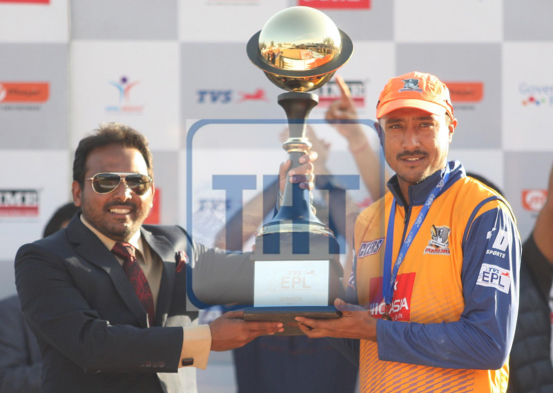Paras Khadka (right), skipper of Biratnagar Warriors, receive winner's trophy from Aamir Akhtar MD of Everest Premier League Pvt. Ltd. during prize distribution ceremony of the TVS EPL T20 Cricket Tournament at TU Cricket Stadium, Kirtipur in Kathmandu, on Saturday, December 30, 2017. Photo: Udipt SIngh Chhetry