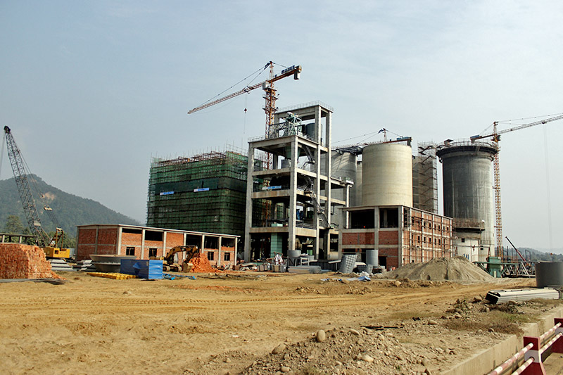 An under-construction of the Hongsi Shivam Cement factory at Sordi in Nawalparasi district, on Monday, December 18, 2017. Photo: RSS