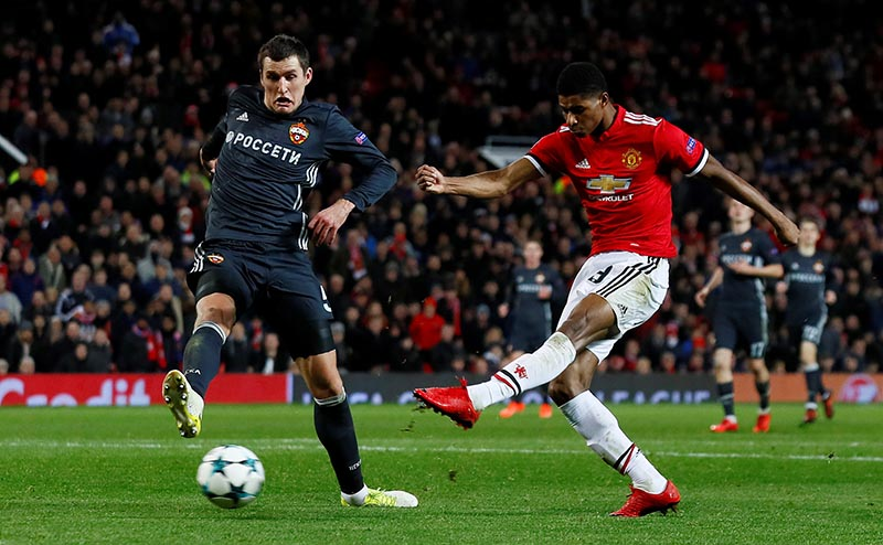 Manchester United's Marcus Rashford scores their second goal during Champions League match between Manchester United and CSKA Moscow, at Old Trafford, in Manchester, Britain, on December 5, 2017. Photo: Action Images via Reuters