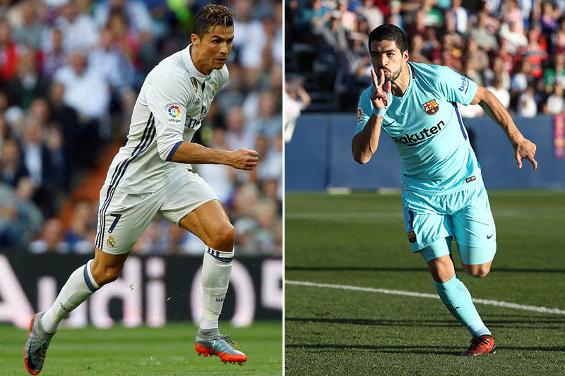 File photos of Real Madrid striker Cristiano Ronaldo (left) and Barcelona striker Luis Suarez. Photo: Reuters