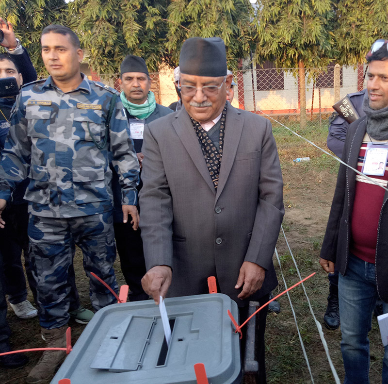 CPN Maoist Centre Chairman Pushpa Kamal Dahal casts his ballot from own constituency-Bharatpur-14, Chitwan for the second phase of provincial and parliamentary elections, on Thursday, December 7, 2017. Photo: Tilak Rimal
