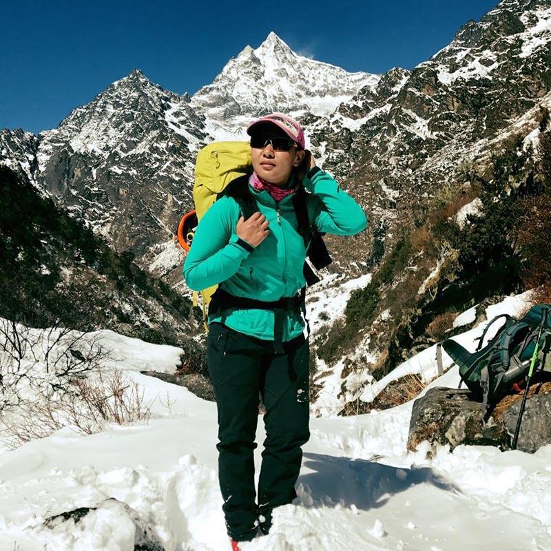 File - This undated image shows Nepal's first female international mountain guide Dawa Yangzum Sherpa. Photo: THT