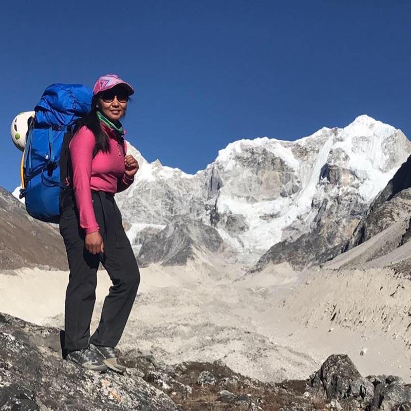 File - This undated image shows Nepalu2019s first female international mountain guide Dawa Yangzum Sherpa. Photo: THT