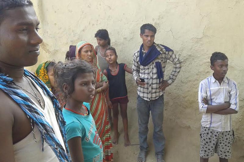 Family members of a landless Dom family who  are compelled to live on the roadside along Postal Highway in Belhi Chapena Rural Municipality-5, Saptari, on Wednesday, December 27, 2017. Photo: THT
