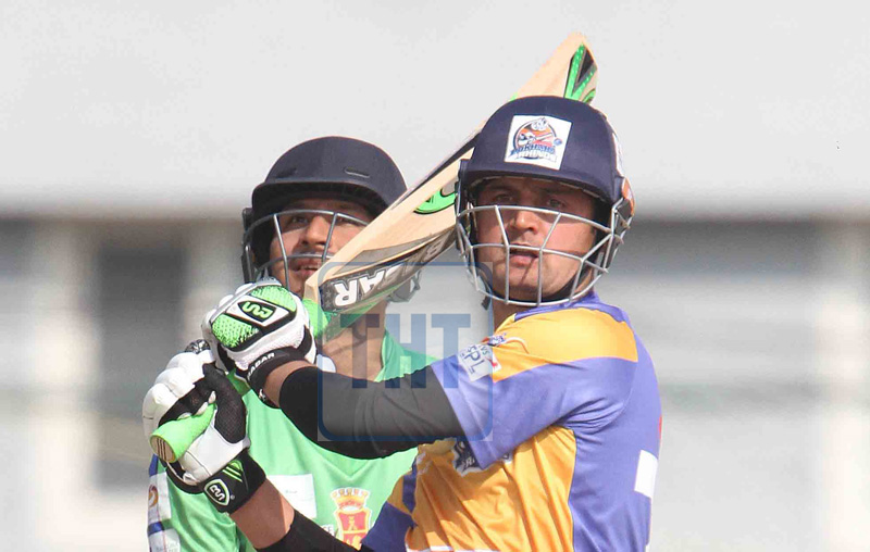 Israrullah of Pokhara Rhinos bats against Cithwan Tigers during the Everest Premier League, at TU Cricket Ground, in Kirtipur, on Tuesday, December 19, 2017. Photo: Udipt Singh Chhetry