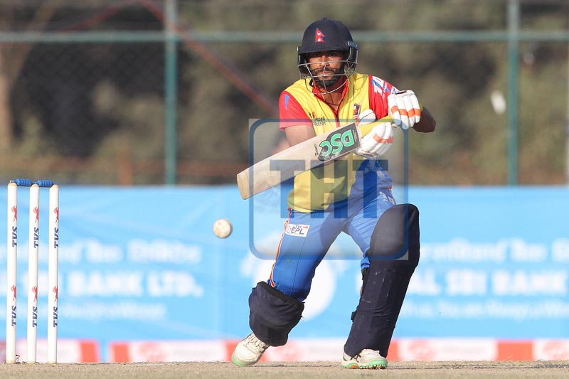 Aarif Sheikh of Bhairahawa Gladiators bats against Pokhara Rhinos during the Everest Premier League Twenty20 cricket tournament at the TU Stadium, Kirtipur in Kathmandu, on Monday, December 25, 2017. Photo: Udipt Singh Chhetry