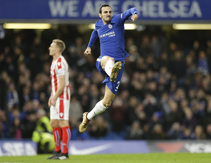 Chelsea's Davide Zappacosta celebrates after scoring his side's 5th goal during their English Premier League soccer match between Chelsea and Stoke City in London, on Saturday, December 30, 2017. Photo: AP