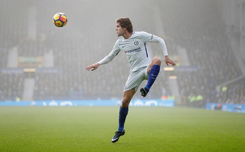Chelsea's Marcos Alonso in action during the Premier League match between Everton and Chelsea, at Goodison Park, in Liverpool, Britain, on December 23, 2017. Photo: Action Images via Reuters