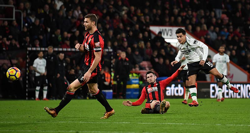 Liverpool's Philippe Coutinho shoots at goal during Premier League, AFC Bournemouth and Liverpool, at Vitality Stadium, in Bournemouth, Britain, on December 17, 2017. Photo: Reuters