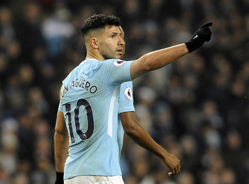 Manchester City's Sergio Aguero celebrates after scoring his second goal, his side's third, during the English Premier League soccer match between Manchester City and Bournemouth at Etihad stadium, in Manchester, England, on Saturday, December 23, 2017. Photo: AP