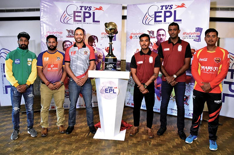 Representatives from six city-based teams pose with the trophy at a programme in Kathmandu on Sunday, on the eve of the TVS Everest Premier League T20 cricket tournament. Photo: THT