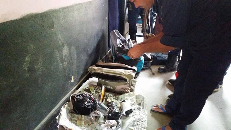This image shows explosives, pressure cooker bomb, a socket bomb confiscated from the possession of two Indian Nationals from a bus at Naubise, in Dhunibesi Municipality of Dhading district, on Friday, December 1, 2017. Photo: Keshav Adhikari