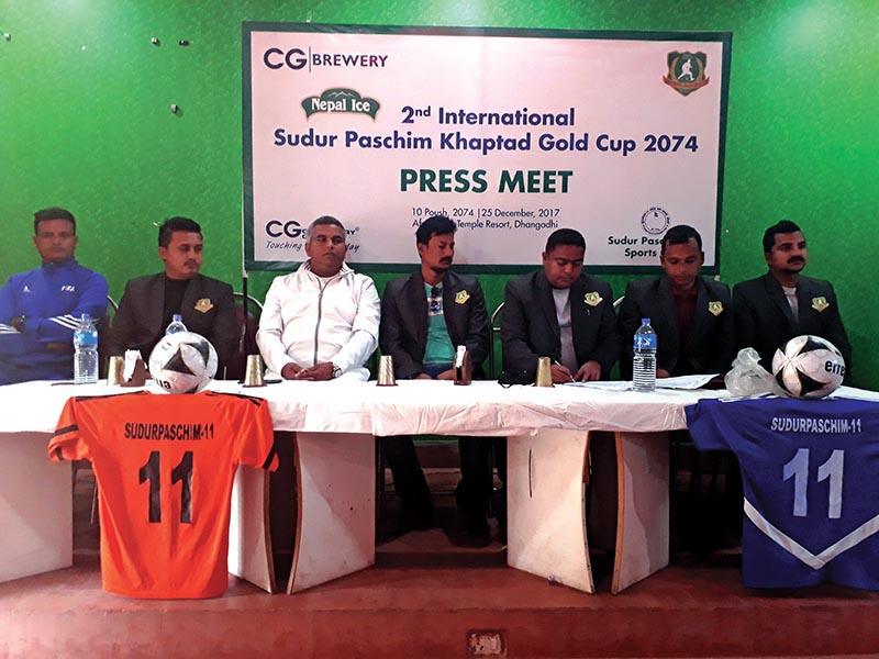 Farwest Sports Club President Suresh Hamal (third from right) and other officials at a press meet in Dhangadhi on Monday. Photo: THT