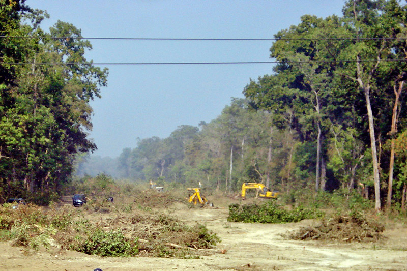 Heavy equipment being used to chop off trees along the Kathmandu-Nijgadh fast track in Bara district, on Tuesday, December 19, 2017. Photo: RSS