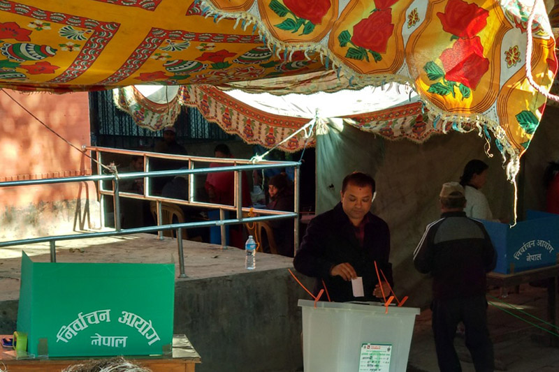 Nepali Congress youth leader and parliamentary candidate from Kathmandu Constituency-4, Gagan Thapa, exercises his franchise from the Maiti Devi polling station, Chabahil, for the second phase of provincial and parlaimentary elections, on Thursday, December 7, 2017. Photo: Roshan S Nepal