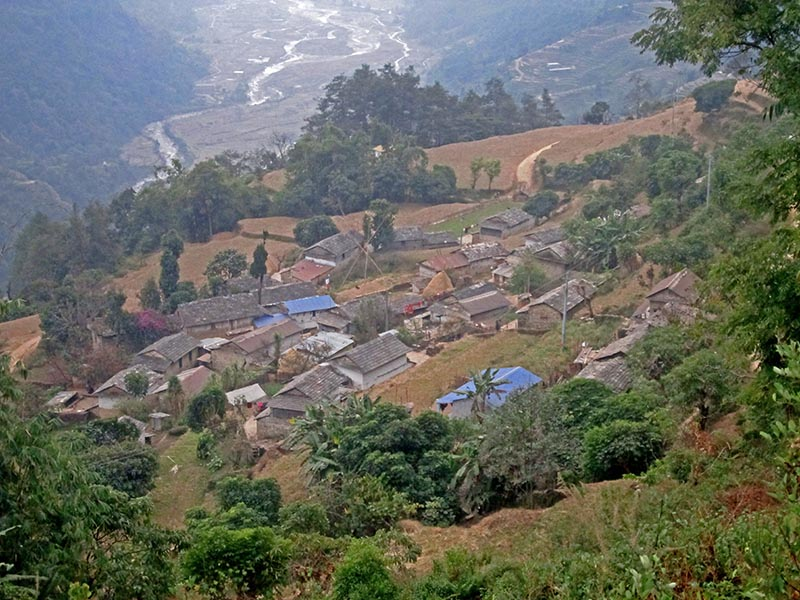 A spectacular view of Ghale Village in Machhapuchhre Rural Municipality, Kaski district, on Tuesday, December 26, 2017. Photo: Rishi Ram Baral