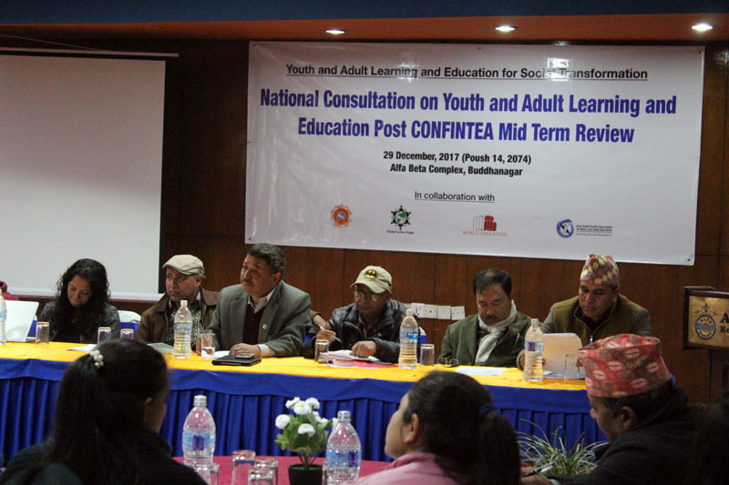 Stakeholders hold a meeting on 'Youth and Adult Learning and Education for Social Transformation' in the Capital, on Friday, December 29, 2017. Photo:  Global Action Nepal