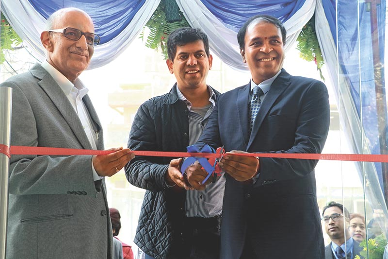 Lakshmi Ram Kumar, Vice President (Sales), Ford India, along with Akash Golchha inaugurates extended sales and service outlet of Go Automobiles Pvt Ltd, sole authorised distributor of Ford in Nepal, at an event held at Chabahil, on 8 December, 2017. Photo: THT