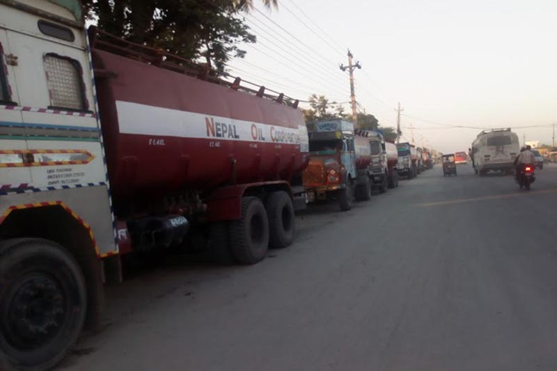 A view of oil tankers parked on the roadside along the Koshi Highway in Biratnagar, Morang, on Tuesday, December 26, 2017. Photo: THT
