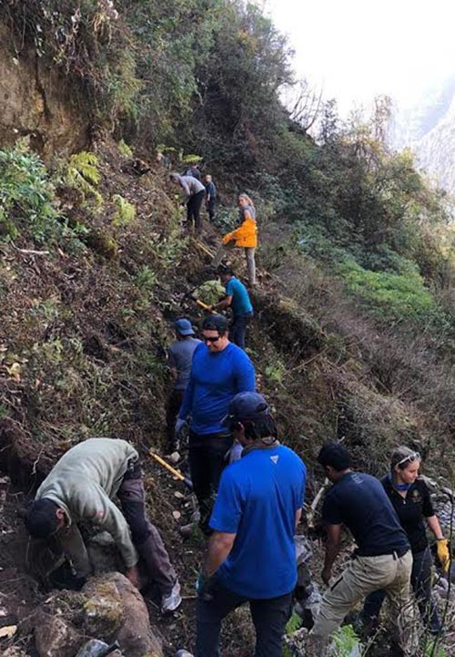 US volunteers of Hike for Help Nepal constructing foot trails in the Everest region in Solukhumbu, on Sunday, December 24, 2017. Photo: THT