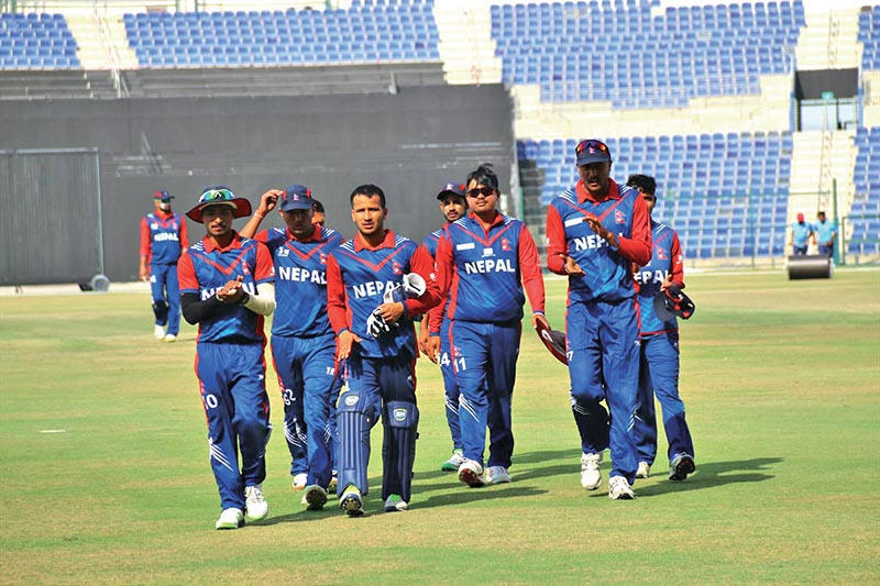 Nepal players walk off the pitch after fielding against the UAE during their last match of the ICC World Cricket League Championship in Abu Dhabi on Friday. Photo Courtesy: Raman Shiwakoti
