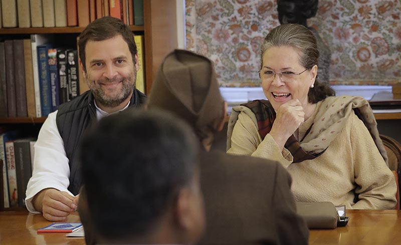 India's main opposition Congress party president Sonia Gandhi (right), with party vice president and her son Rahul Gandhi (left), talks to Karan Singh during the Congress Working Committee (CWC) meeting in New Delhi, India, Monday, November 20, 2017. Photo: AP/ File