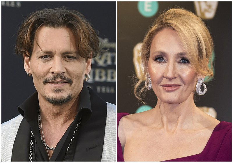 In this combination photo, Johnny Depp appears at the Los Angeles premiere of u201cPirates of the Caribbean: Dead Men Tell No Talesu201d on May 18, 2017, left, and J.K. Rowling appears at the BAFTA Film Awards in London on February 12, 2017. Photo: AP