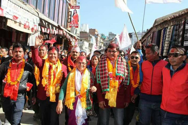 Newly-elected Member of Parliament and Nepal Olympic Committee President Jeevan Ram Shrestha taking part in a victory rally in Kathmandu on Sunday, December 10, 2017. Photo: THT
