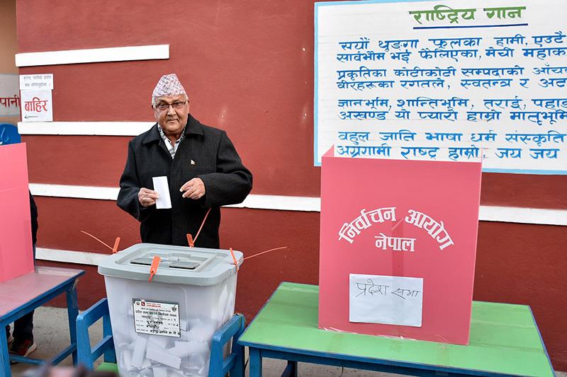 CPN-UML Chairman KP Sharma Oli casts his ballot from Balkot in Bhaktapur Constituency-2, on Thursday, December 7, 2017. Photo: Naresh Shrestha
