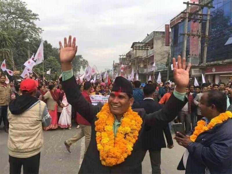 CPN-UML's Narad Muni Rana reacts after winning the parliamentary seat from Kailai constituency 5, in Kailali district, on Sunday, December 10, 2017. Photo: Tekendra Deuba