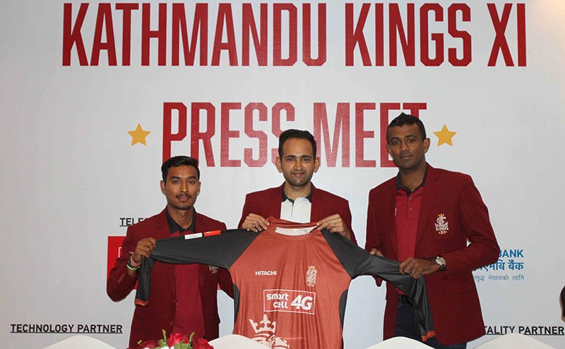 (From left) Kathmandu Kings-XIu2019s marquee player Sompal Kami, owner Rohit Gupta and skipper Mohamed Farveez Maharoof unveiling club jersey in Kathmandu on Friday, Decenber 15, 2017. Photo: Udipt Singh Chhetry/THT