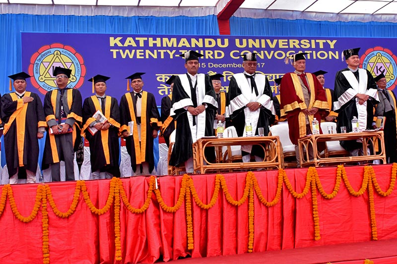 Minister for Education and Pro-Chancellor Gopal Man Shrestha (front 2nd left), Dr. Suresh Raj Sharma, Founder Vice Chancellor (front centre) and Vice-Chancellor Prof. Dr. Ram Kantha Makaju Shrestha (front right) along with other members of Kathmandu University during the 23rd Convocation, in Dhulikhel, Kavre district, on Friday, December 15, 2017. Photo: RSS