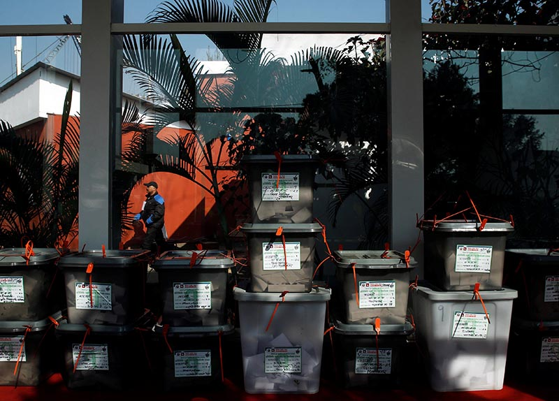 Sealed ballot boxes are pictured inside the city hall as officials start counting the votes, a day after the parliamentary and provincial elections in Kathmandu, Nepal, on December 8, 2017. Photo: Reuters