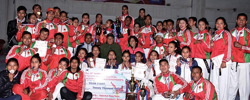 Players and officials of TAC celebrate after the eighth Korean Ambassador Open National Taekwondo Tournament in Lalitpur. Photo: THT