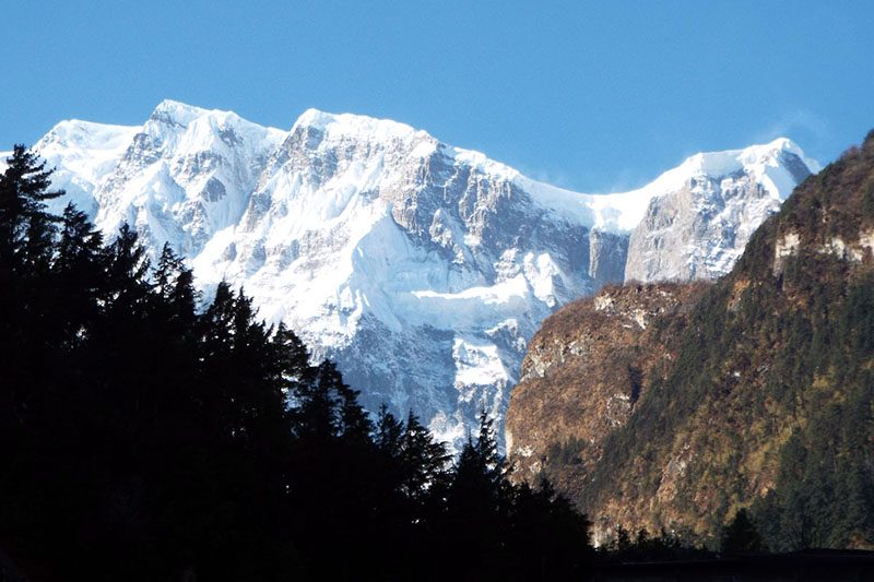 A spectacular view of Lamjung Mountain Range as seen from Chame, district headquarters of Manang, on Thursday, December 21, 2017. Photo: RSS