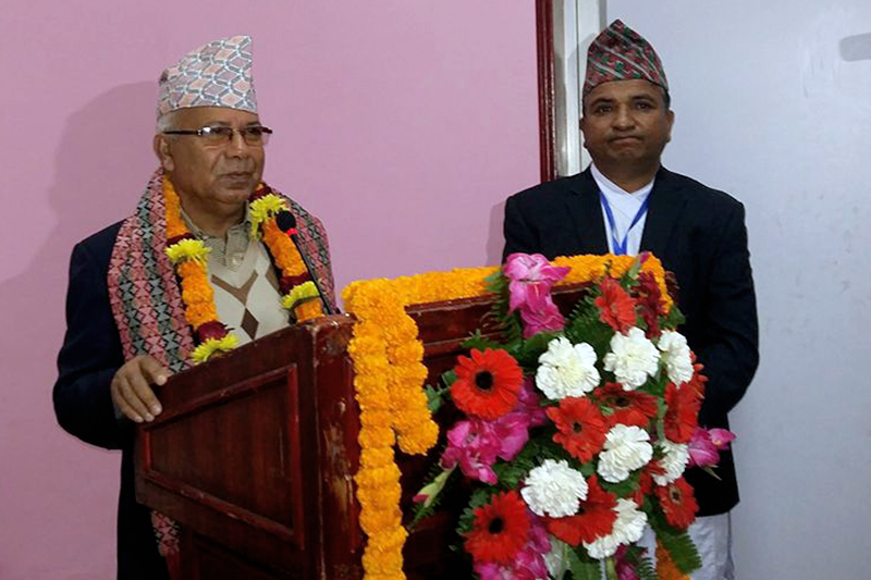 CPN-UML leader Madhav Kumar Nepal speaks at a programme organised in Kathmandu, on Wednesday, December 27, 2017. Photo: RSS