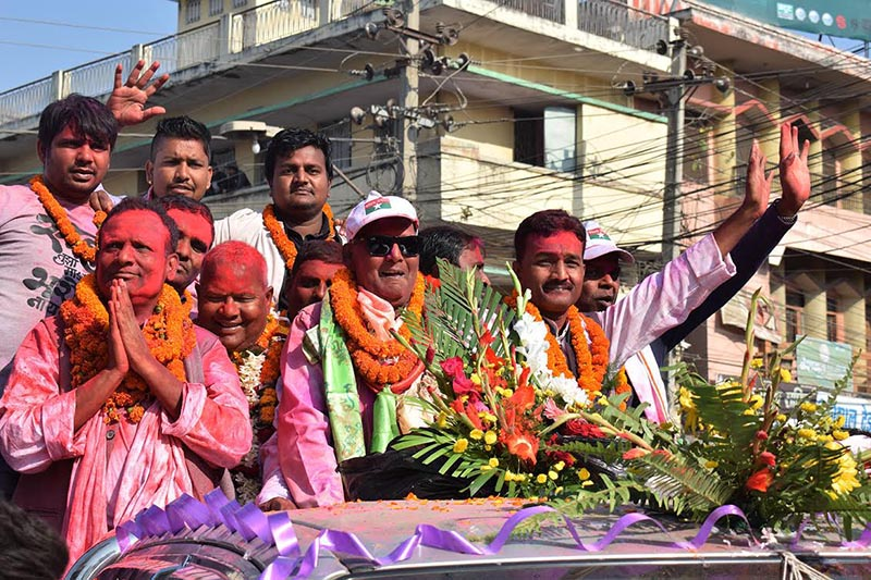 Madhes alliance taking out a joint victory rally in Birgunj, Parsa district, on Monday, December 11, 2017. Photo: THT