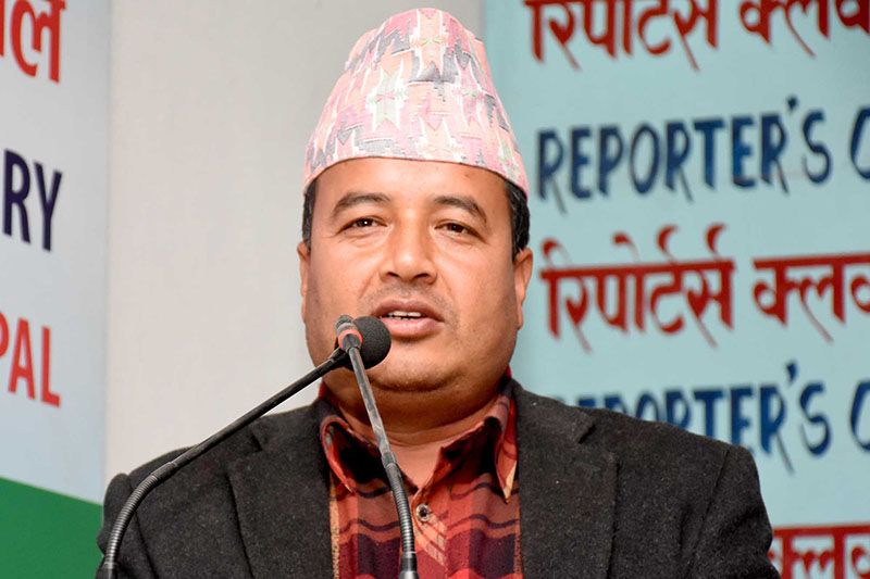 UML leader Mahesh Basynet speaking at an interaction programme in Kathmandu, on Tuesday, December 19, 2017. Courtesy: Reporters Club