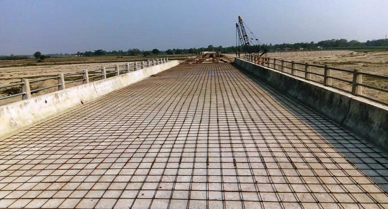 A view of an under-construction bridge over the Mechi River that connects Bihar and Bengal, in Jhapa, on Saturday. Photo: THT