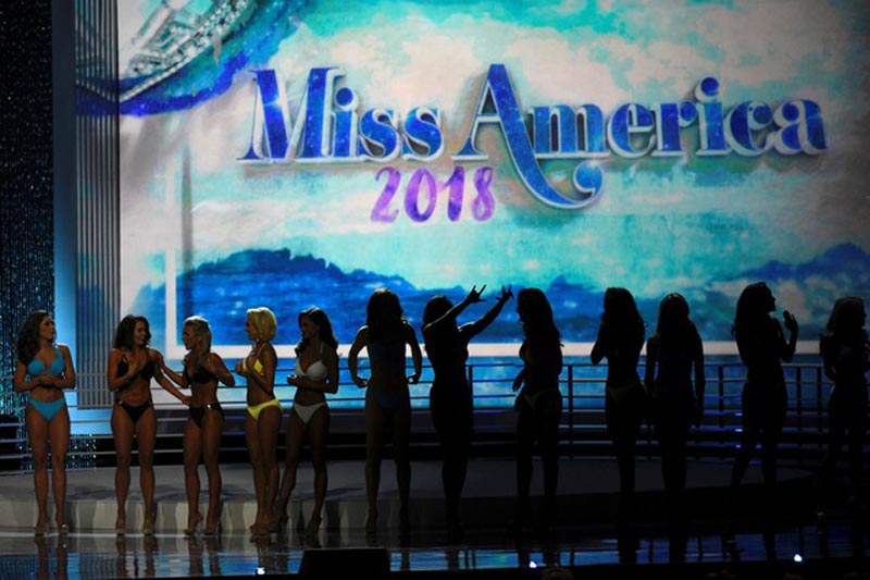 Contestants await the results after competing in the swimsuit component of the 97th Miss America Competition in Atlantic City, New Jersey, U.S., September 10, 2017. Photo: Reuters