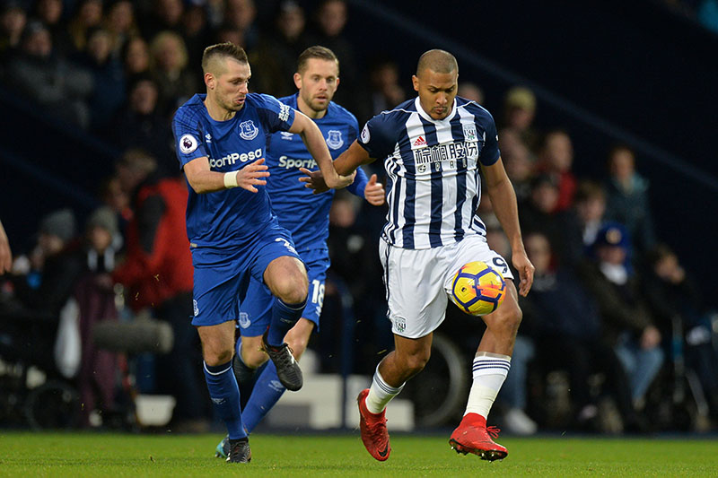 West Bromwich Albion's Salomon Rondon in action with Everton's Morgan Schneiderlin. Photo: Reuters