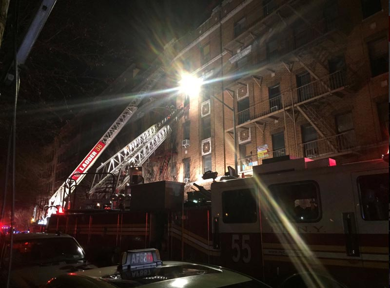 New York Fire Department ladder trucks deploy at a building fire in the Bronx borough of New York City, New York, US on December 28, 2017.  Photo: Reuters