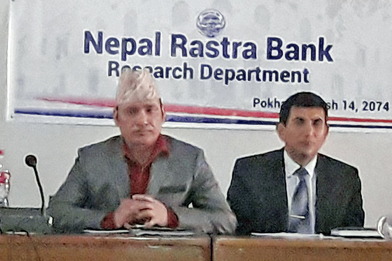 Nara Bahadur Thapa, Research Department acting head of the Centra Bank attending Focus Group Discussion on Banking Business Models in Nepal organised by NRB in Pokhara, on Friday, December 29, 2017. Photo: Bharat Koirala