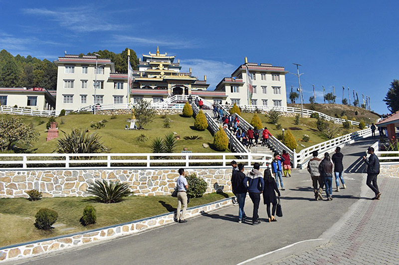 Tourists throng Nala Gumba located at the vinicity of Kavre and Bhaktapur district, on Sunday, December 17, 2017. Photo: RSS